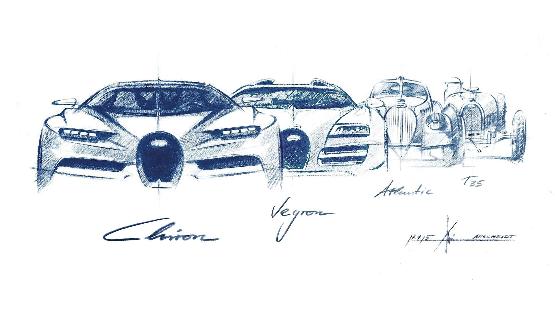 [Translate to Deutsch:] Evolution of the iconic Bugatti horshoe grill