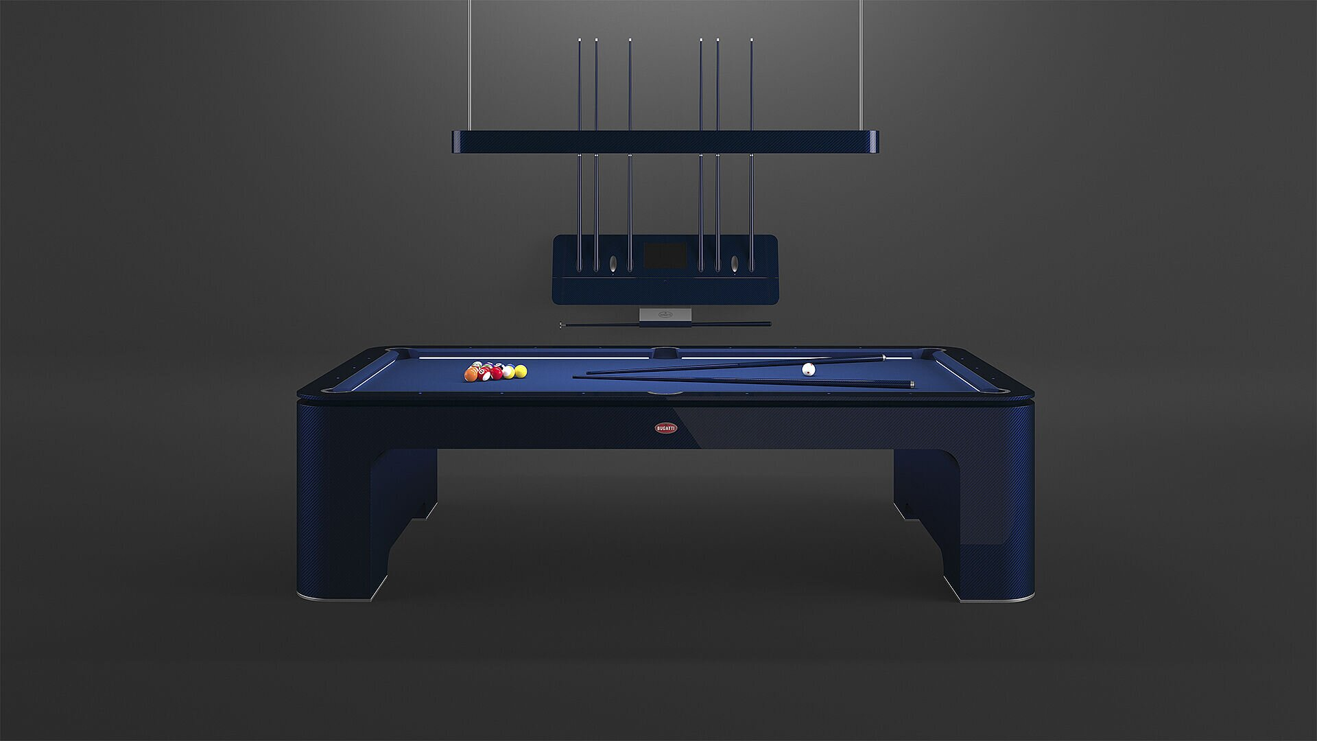 [Translate to Deutsch:] The Bugatti Pool Table, limited to 30 pieces, is available to purchase for €250.000, including the accessories.